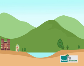 2 Buildings and Hills on the Background Animated