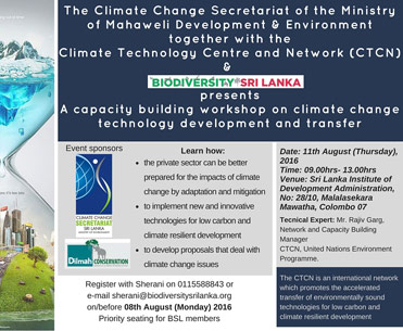 A Capacity Building Workshop on Climate Change Technology Development and Transfer