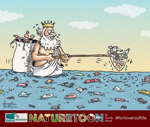 A Cartoon Image of God Collecting Trash