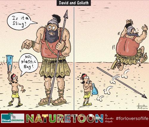 Cartoon Image of David and Goliath