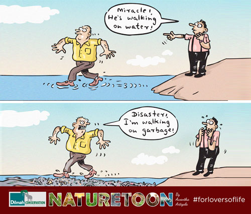 Cartoon Image about Garbage in the Ocean